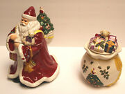 Spode Christmas Tree 2-piece Set Father Christmas Cookie Jar And Toy Bag Candy Dis