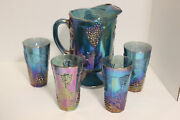 Indiana Glass Blue Carnival Harvest Grape Pitcher And 4 Glasses