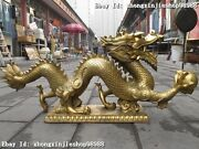 Huge Chinese Classic Pure Brass Copper Dragon Play Bead Decoration Statue