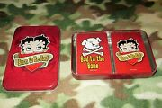 2008 Betty Boop Collector's Tin With 1 Sealed Pack Of Playing Cards 1 Opened