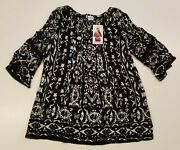 Bila Womenand039s Black Floral Shirt Small S Light Weight Cold Shoulder Sleeve Blouse