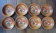 Set Of 8 Vintage Farmhouse Hand Painted Rooster 6 Wood Bowls Woodcroftery Usa
