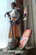 104 Mm French Lead Norman Knight With Axe Flag And Helmet Hand Made Painted