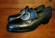 Klaveness Norsk Big Buckle Tooled Black Leather Shoes Size Norway 4.5