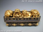 China Royal Pure Bronze 24k Gold Dragon Lion Kylin Brave Troops Four God Beast
