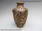 Royal 100 Pure Bronze 24k Gold Silver Nine Dragon To Play In The Cloud Pot Vase