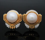 Ivan And Co. 18k Yellow Gold Diamond And Pearl Earrings Jr104