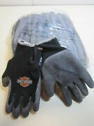 12 Pair Small Harley Davidson Hdg200-s Rubber Coated Gloves Polyester/cotton