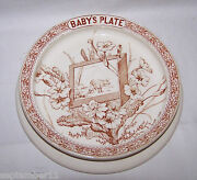 Antique Linnaeus And K Co.1880 Brown Transferware Aesthetic Movement Babyand039s Plate