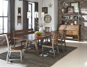 Rustic Wood Milk Crate Finish Dining Chairs Bench Dining Room Furniture Set
