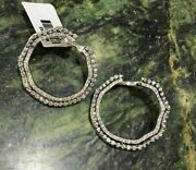 Extra Lage 1.69ct Diamond 18kt White Gold 3d Two Row Circular Hanging Earrings
