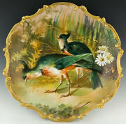 Limoges 15-3/4 Hand Painted Game Bird Artist Signed Charger Plaque Plate