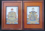 Pair Of Vintage Chinese Hand-painted Porcelain Ceramic Tiles / Plaques In Frame