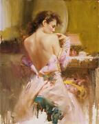 Pino Ballgown Pretty Lady In Fabulous Gown Giclee Canvas Hand Signed/ Coa