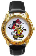 New Disney Menand039s Mickey Mouse Fireman Firefighter Limited Edition Gold Watch