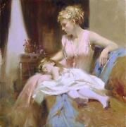 Pino Long Day Mom With Baby On Lap Sold Out Giclee Canvas Hand Signed/ Coa
