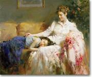 Pino Innocence Mom And Daughter Asleep Sold Out Giclee Canvas Hand Signed/ Coa