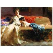 Pino Late Night Reading Mom Reading Sold Out Giclee Canvas Hand Signed/ Coa