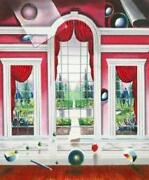 Ferjo The Red Room Garden View Arched Windows Giclee Paper Hand Signed/ Image