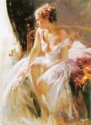Pino Morning Breeze Beautiful Lady Sold Out Giclee Canvas Hand Signed/coa