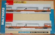Walthers 932-240307 Gold Line 89' Flush Deck Flat Car Twin 45 2-pk Wisconsin Wc