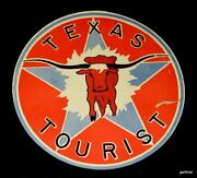 Texas Tourist Rare Vintage Decal Highway Department Longhorn And Lone Star Art
