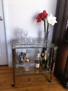Vintage Two Tier Brass And Glass Bar Cart, Tea Trolley, Serving Cart C. 1960s