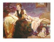 Pino Precious Moments Embellished On Canvas S/n 36x48 Mother And Daughter