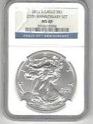 2011 S Eagle Silver 1 25 Th Anniversary Set Ms 69 Ngc