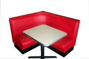 New Diner Booth Set - L Shape With Metal Trim Table