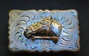 Rare Sterling Silver With Gold Accent Western Rodeo Cowboy Belt Buckle - Nos