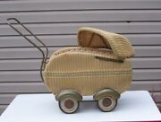 Art Deco Style Streamline Wicker Doll Carriage Unique Wheels Fenders 1920-30and039s