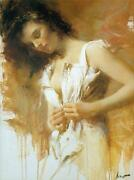 Pino White Camisole Lady In White Sold Out Giclee Canvas Hand Signed/coa
