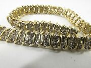 14k White And Yellow Gold 3ct Diamond Bracelet 7in. X 5mm Save 2000. 1373