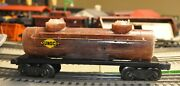 Lionel 2465 Sunoco Tank Car- Clear Shell Showing Mixed Plastic