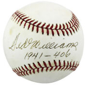 Red Sox Ted Williams 1941 - 406 Authentic Signed Oal Baseball Psa/dna B97179