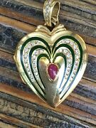 Large 18k 2 Inch Gold Locket 30 Grams Ruby Diamonds By Victor Mayer Faberge
