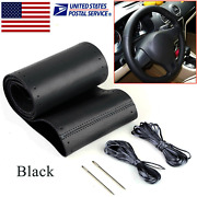 New Black Genuine Leather Diy Car Steering Wheel Cover With Needles And Thread A