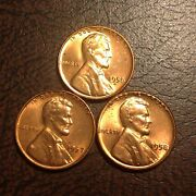 3 Bu Wheat Penny Lincoln Cent Antique Scarce Us Coin 1956 D,1957,1958. 471c