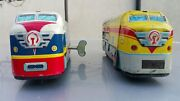 Vntg.tin Toy Train Locomotive China 650 Ms 770 Wind Up Friction Double Decker