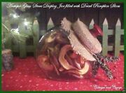 Antique Vtg Slanted Glass Store Display Candy Cookie Jar Xmas Red Knob And Pumpkin