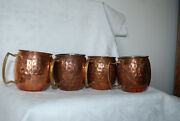 Hammered Moscow Mule Mug Gold Solid Copper And Nickel Lined 16 Oz. Brass Handle