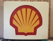 Shell Gasoline Station Sign Electrified Aluminum Box Frame 50x60 Double Sided