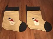 2 Victorian Heart Primitive Snowman Christmas Holiday Stockings
