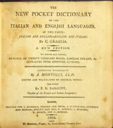 C Graglia / New Pocket Dictionary Of The Italian And English Languages In Two
