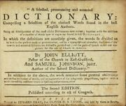 John Elliott / Selected Pronouncing And Accented Dictionary Comprising Selection