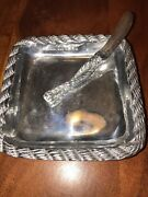 Silver Hecho En Mexico 7 Tray Dish Plate Platter With Butter Knife Jc