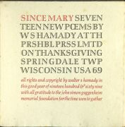 Walter S Hamady / Since Mary Seventeen New Poems 1969 Poetry
