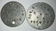Ww1 Us Army Dog Tags Roy E. Cawthon Dyer County Tennessee Pvt Quartermaster Corp