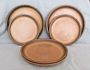 Denby-langley Romany Brown Set Of Four Salad And Two Bread And Butter Plates